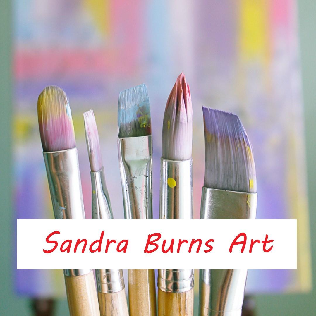 paint brushes with the caption: Sandra Burns ART