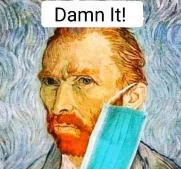 van gogh covid meme - unable to wear a covid mask because he only has one ear